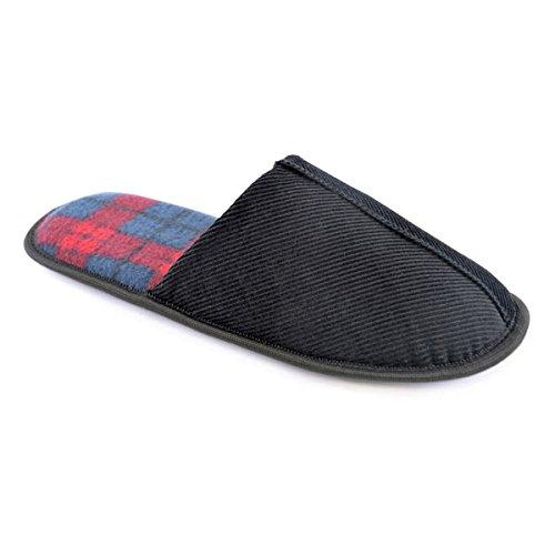 SlumberzzZ Men's Cord Inner Check Lined Mule Slippers, Black, Size UK 9/10