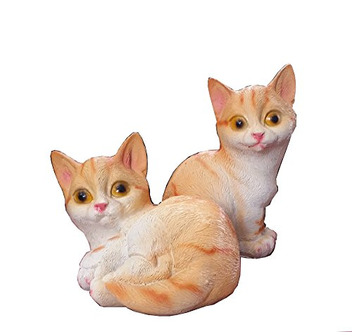 Thaismart Cat Garden Statue (1 pack /2 pcs)- Weather Resistant, Hand-Painted Polyresin Sculpture - Garden Decoration Or elsewhere as needed.Cat size : W =4 inches x H=6 inches