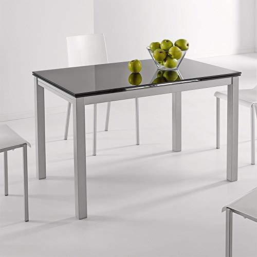 fanmuebles - Mesa Cocina Cristal Extensible Katy - Negro, 110 x 70 cm.