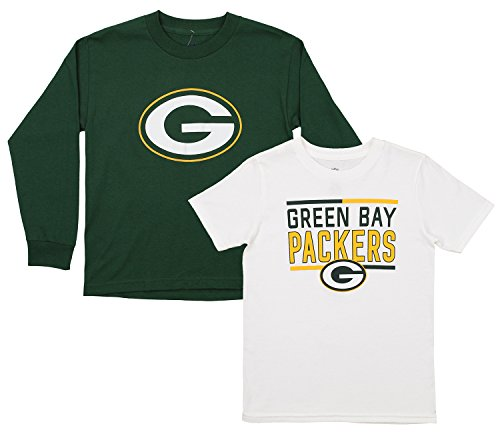 Outerstuff NFL Youth Team Flag Runner Short and Long Sleeve Set, Green Bay Packers Medium (10-12)