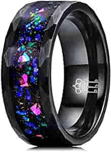 THREE KEYS JEWELRY Mens Womens Fire Opaly Inlay Tungsten Rings 4mm 8mm Engagement Wedding Gifts Bands