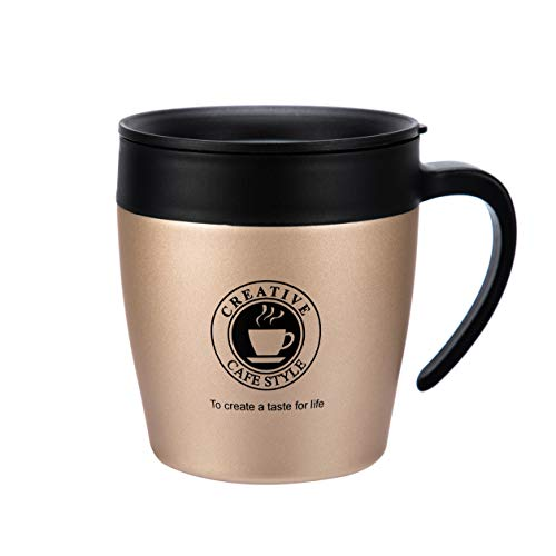 FLY SPRAY Stainless Steel Thermos Coffee Mug Insulated Double Wall Water Cup with Lid Handle Spoon For Tea Ice Drink & Hot Beverage Home Office Car Travel School Use Unique Creative,12oz Gold
