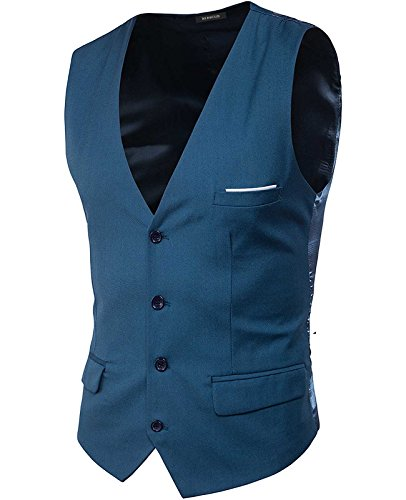 Stylish Solid Satin (Nidicus Mens Formal Satin V-Neck 4 Button Solid Tuxedo Modern Stylish Suit Vest Sea Blue L)