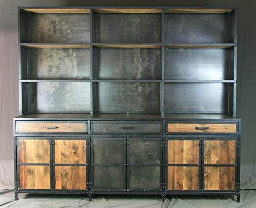 amazon com industrial credenza with hutch rustic bar with shelving rh amazon com antique buffet hutch prices antique buffet hutch with mirror