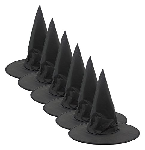 Partypeople 6Pcs Halloween Black Witch Hat Costume Accessory Cap