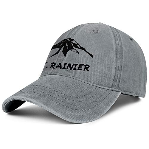 KYJRTHBB MT.Rainier Unisex Denim Flat Brim Cap Adjustable Sports Baseball Hat