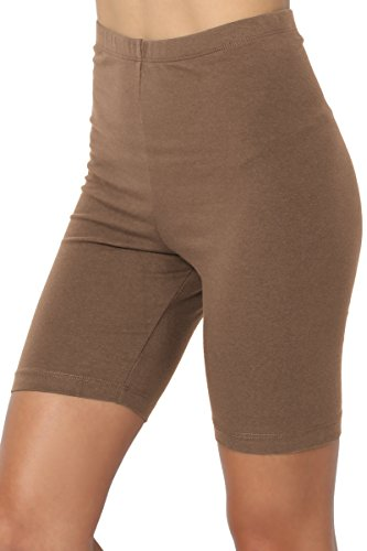 Mocha Gift - TheMogan Women's Mid Thigh Cotton High Waist Active Short Leggings Mocha 2XL