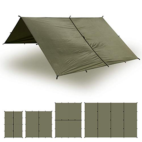 Aqua Quest Safari Tarp - 100% Waterproof Lightweight SIL-Nylon Bushcraft Camping Shelter - 10x10 Olive Drab