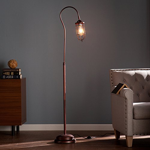 Contemporary/Reading/Modern Steel Taylon 100W Floor Lamp (OS2215TL). 6 Feet Long Cord Length. Distinctive Cage-Style Shade. In A Brushed Bronze Finish – Brown For Sale
