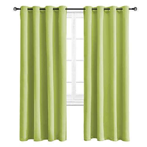 WONTEX Blackout Curtains Room Darkening Thermal Insulated with Grommet Window Curtain for Bedroom, 52 x 84 inch, Apple Green, 2 Panels