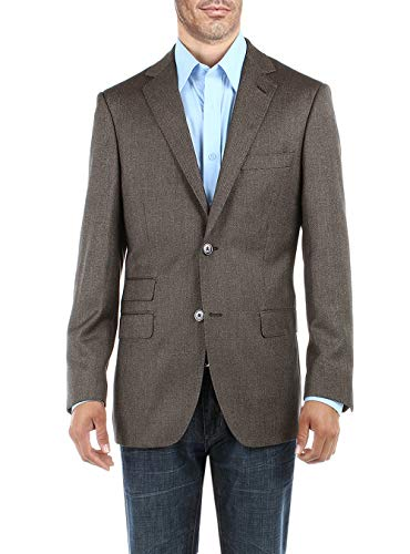 DTI BB Signature Men's Dress Suit Jacket Two Button Birdseye Modern Fit Blazer (54 Long US / 64L EU, Taupe)