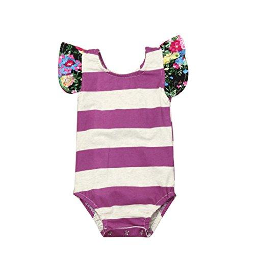 Newborn Sunsuit,Kaifongfu Summer Baby Girls Stripe Floral Outfit Romper Jumpsuit Clothes Sunsuit (12M, Purple)