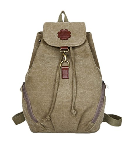 (Top Shop Womens Canvas Bucket Backpack Travel Daypack Handbags School Bags Shoulder Khaki Satchels)