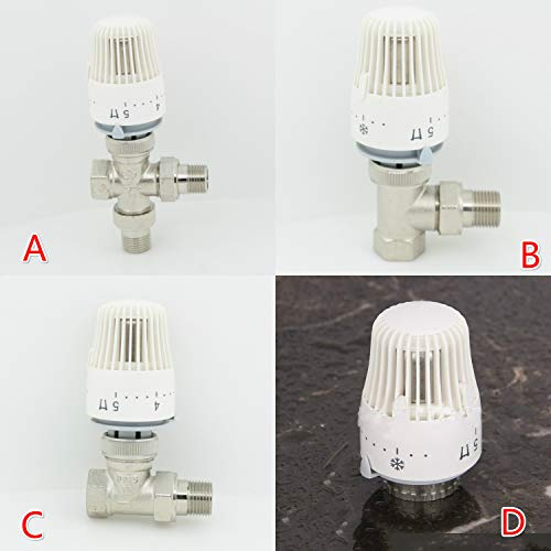 Fincos Thermostatic Radiator Brass Valve DN15 DN20 DN25 Floor Heating System Thermostatic Radiator Valve Head - (Specification: A DN15)