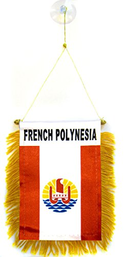 AZ FLAG French Polynesia Mini Banner 6'' x 4'' - French Polynesian Pennant 15 x 10 cm - Mini Banners 4x6 inch Suction Cup Hanger