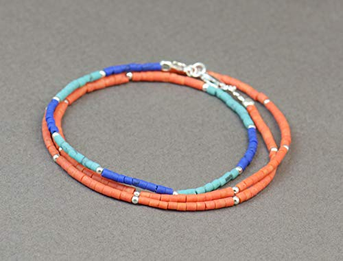 Triple strands heishi turquoise,blue lapis and coral color beads and sterling silver beads bracelet/necklace.Dainty bracelet.Wrap