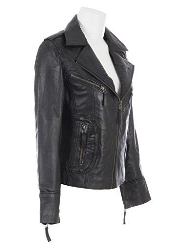 Elegante In Pelle Donna Nero Morbida Giacca Aviatrix Vera Da n8ul Motociclista 7n0x8t0PIq