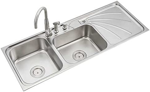 Incredible Anupam Ls342Sm 304 Grade Stainless Steel Double Square Bowl With Drain Board Kitchen Sink 54 X 21 X 8 Inch Satin Finish Interior Design Ideas Truasarkarijobsexamcom
