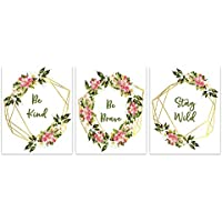 Strong Girls Floral Wreath Art Prints - Inspirational Quote Wall Art Prints for Teenagers - Be Kind Be Brave Stay Wild Artwork - Boho Bedroom Wall Decor - Set of 3-8x10 - UNFRAMED