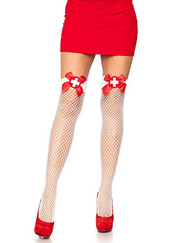 Leg Avenue Women's Tights, White/Red, One Size