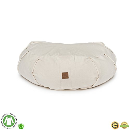Half Round Bolster Pillow (Buckwheat Crescent Therapeutic Meditation Cushion | Yoga Pillow | Round Ergonomic Design Relieves Stress On Back, Hips, Legs For Total Comfort | Washable Premium Organic Cotton Removable Cover-Natural)