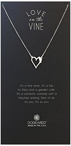 """Dogeared Vintage Tattoo, Heart With Bloom-Love Charm Chain Necklace, Silver, 16""""+2"""" Extender"""
