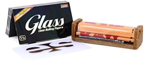 Glass Clear 1 1/4 Rolling Papers (3 Pack) Bundle with RAW Eco Plastic 79mm Roller and Clear ES Scoop Card (Transparent Rolling Papers)