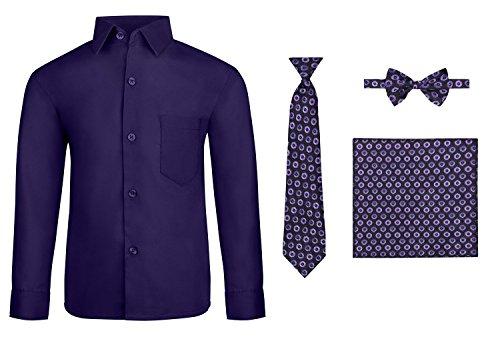 S.H. Churchill & Co. Boy's Dress Shirt & Tie - Purple, - Boys Purple Shirt Dress