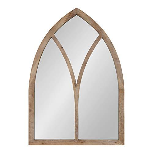 - Kate and Laurel Corneil Decorative Farmhouse Arch Shape Wall Mirror, Rustic Wood Finish