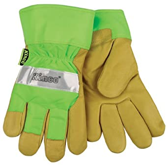 Kinco 1939 Heatkeep Lined Grain Pigskin Leather High Visibility Glove with Green Back, Work, X-Large, Palomino (Pack of 6 Pairs)