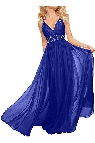 mia Rock Abendkleider Lang Rosa Braut La Linie Neckholder Ballkleider A Promkleider Blau Partykleider Chiffon Royal wxqpx7dFnA