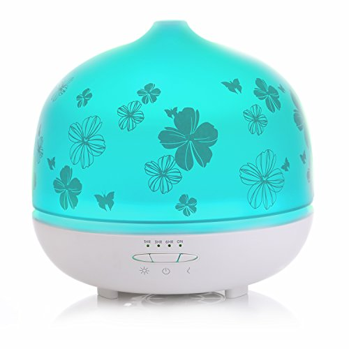Space Glass Diffuser - ISELECTOR 500ml Glass Aromatherapy Essential Oil Diffuser with 7 Changing LED Colors and Waterless Auto Shut-off - White Base