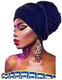 L'vow Women' Soft Stretch Headband Long Head Wrap Scarf Turban Tie (Navy)