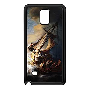 Christ in the Storm on the Lake of Galilee by Rembrandt Black Silicon Rubber Case for Galaxy Note 4 by Painting Masterpieces + FREE Crystal Clear Screen Protector