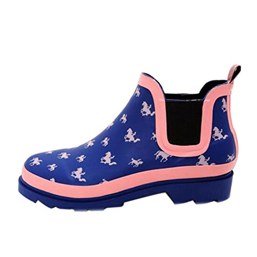slip Boots Waterproof Shoes Rain Boots Short Womens Ladies Printed Meijunter Water Ankle Non IpHx0qw75
