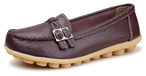 Kunsto Women's Leather Loafer Shoes Slip On US Size 7.5 Coffee