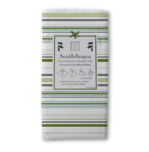SwaddleDesigns Marquisette Swaddling Blanket, Premium Cotton Muslin, Jewel Tone Stripes, Pure Green ()
