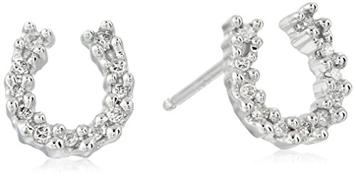 14k White Gold Diamond Horseshoe Earrings (.09 cttw, I-J Color, I3 (14k White Gold Horseshoes)