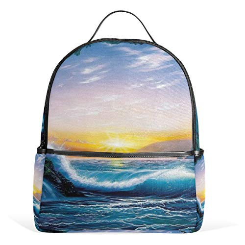 (Backpack Beautiful Beach Sunset Painting Womens Laptop Backpacks School Hiking Travel Daypack)