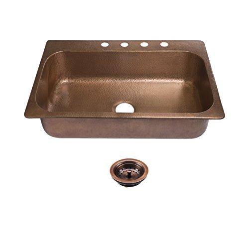Copper Sink Kitchen Single - Sinkology SK101-33AC4-AMZ-B Angelico 4-Hole Drop Kit with Strainer Drain Copper Kitchen Sink 33 x 22 x 8