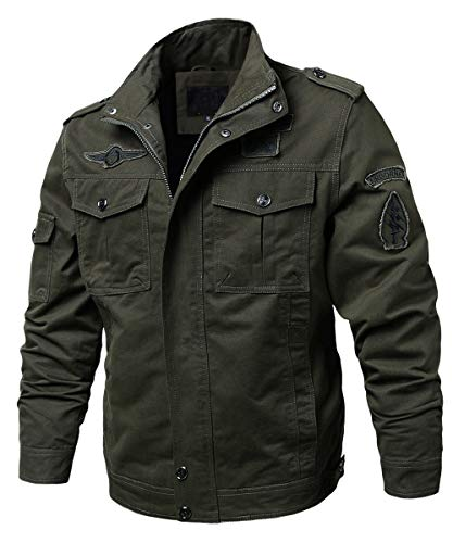 - EKLENTSON Military Jackets for Men Lightweight Pilot Jacket Windbreaker Work Jackets Olive Green