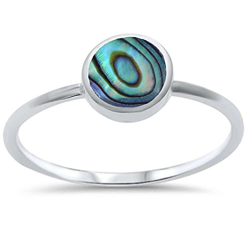 - Oxford Diamond Co Sterling Silver Bezel Abalone Shell Ring Sizes 5