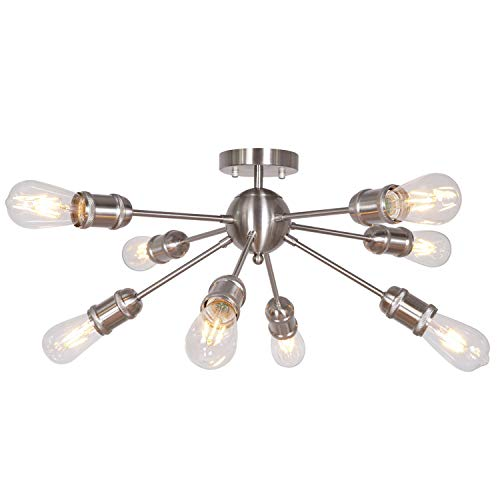 MELUCEE Sputnik Chandelier Brushed Nickel 8 Lights Semi Flush Mount Ceiling Light Mid Century Vintage Light Fixture with Netting Sockets UL ()