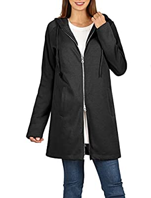 NE PEOPLE Womens Casual Adjustable Drawstring Two-Way Metal Zipper Hip Length Hoodies Jackets with Side Pockets