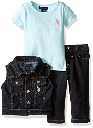 (U.S. Polo Assn. Baby Girls' Twill Vest, Stretch Denim Jean and Space Dyed T-Shirt, Mint, 12)