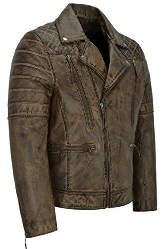 Di Napa Style Giacca Vera Agnello 3205 Da Dirty Uomo Biker Pelle Brown New In Fashion Motorcycle 0XUXanxg