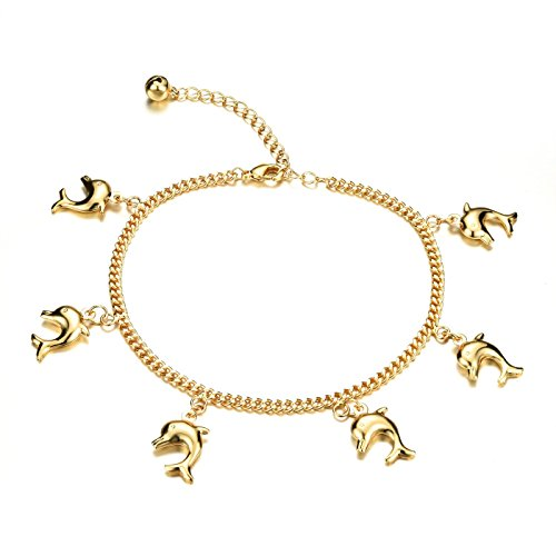 Fate Love Women's 18k Gold Plated Lovely Dolphin Barefoot Sandal Foot Bracelet Anklet Extender Chain 27mm 14k Yellow Gold Sandal