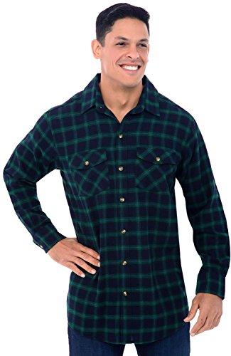 Alexander Del Rossa Mens Flannel Shirt, Long Sleeve Cotton Top