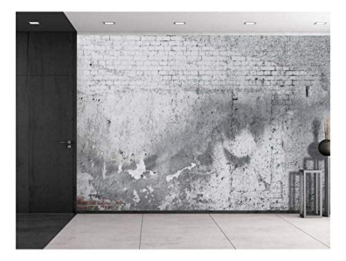 wall26 - Gray Cracked Brick and Pavement Wall - Wall Mural, Removable Vinyl Wallpaper, Home Decor - 100x144 inches