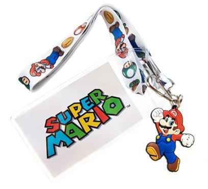 Super Mario Lanyard Keychain Holder ID Badge Holder with Bonus Rubber Mario - Super Nintendo Lanyard